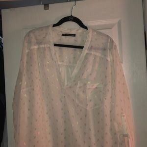 Gold/White Chiffon blouse